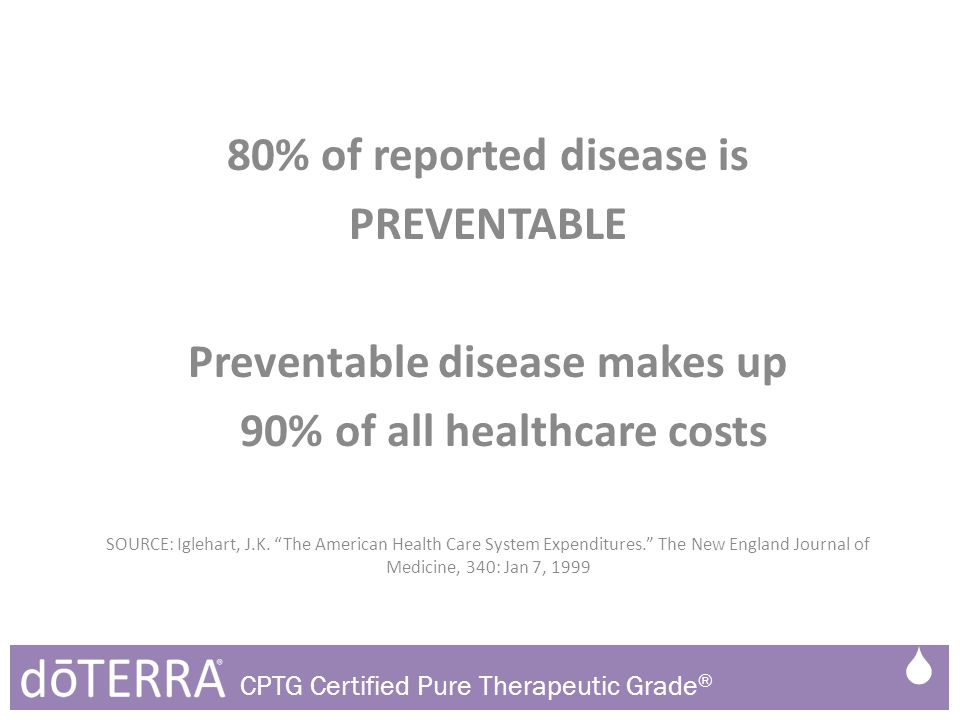 "80% of reported disease is PREVENTABLE Preventable disease makes up 90% of all healthcare costs SOURCE: Iglehart, J.K. ""The American Health Care Syste"