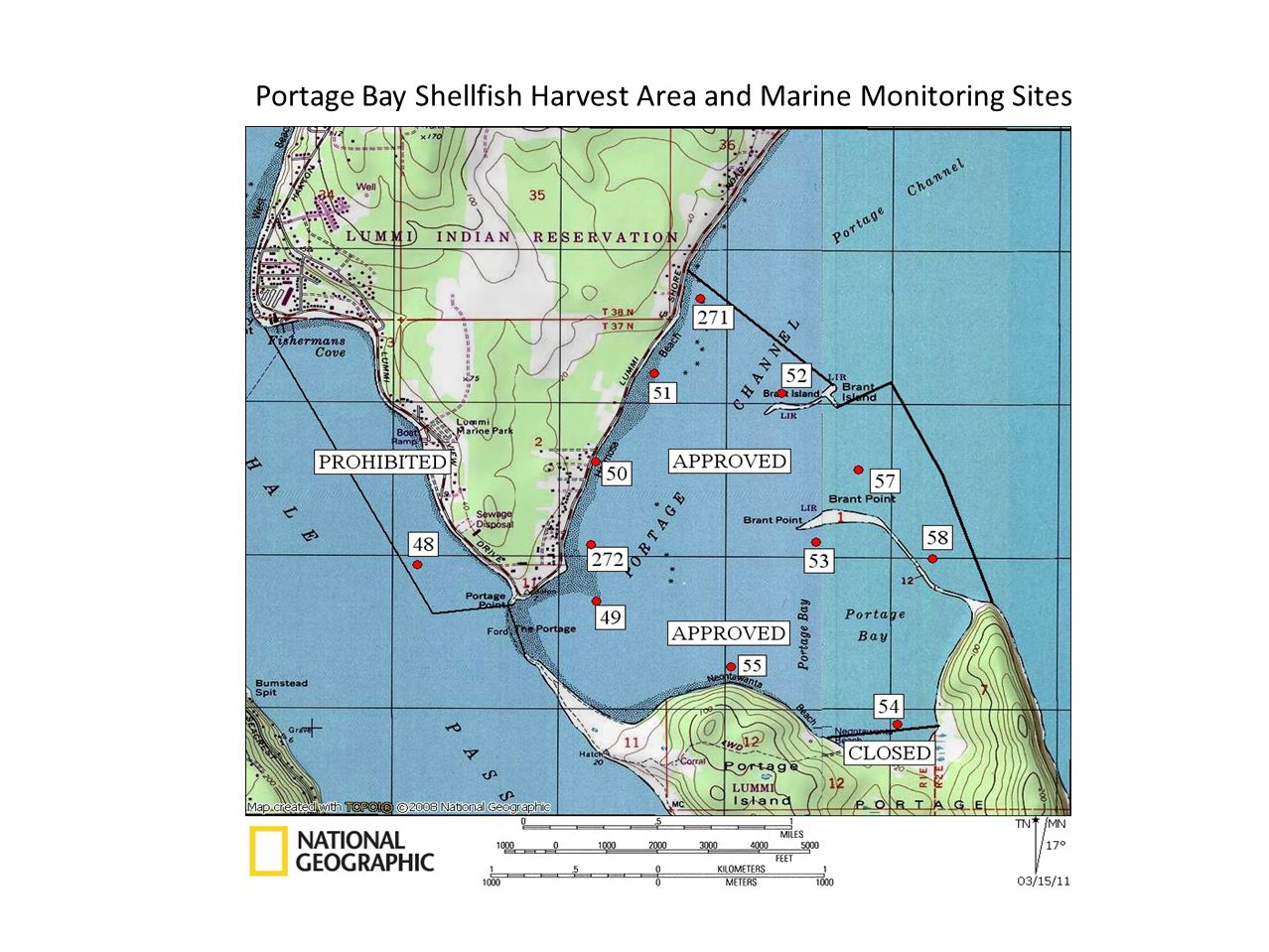Portage Bay Shellfish Harvest Area and Marine Monitoring Sites