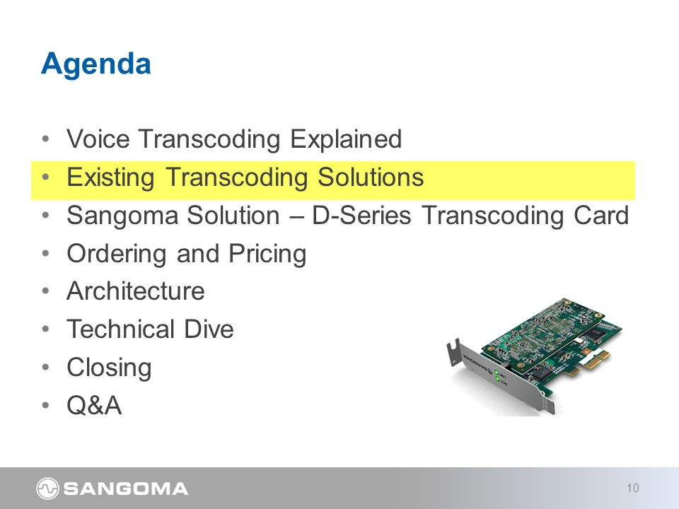 Voice Transcoding Explained Existing Transcoding Solutions Sangoma Solution – D-Series Transcoding Card Ordering and Pricing Architecture Technical Dive Closing Q&A Agenda 10