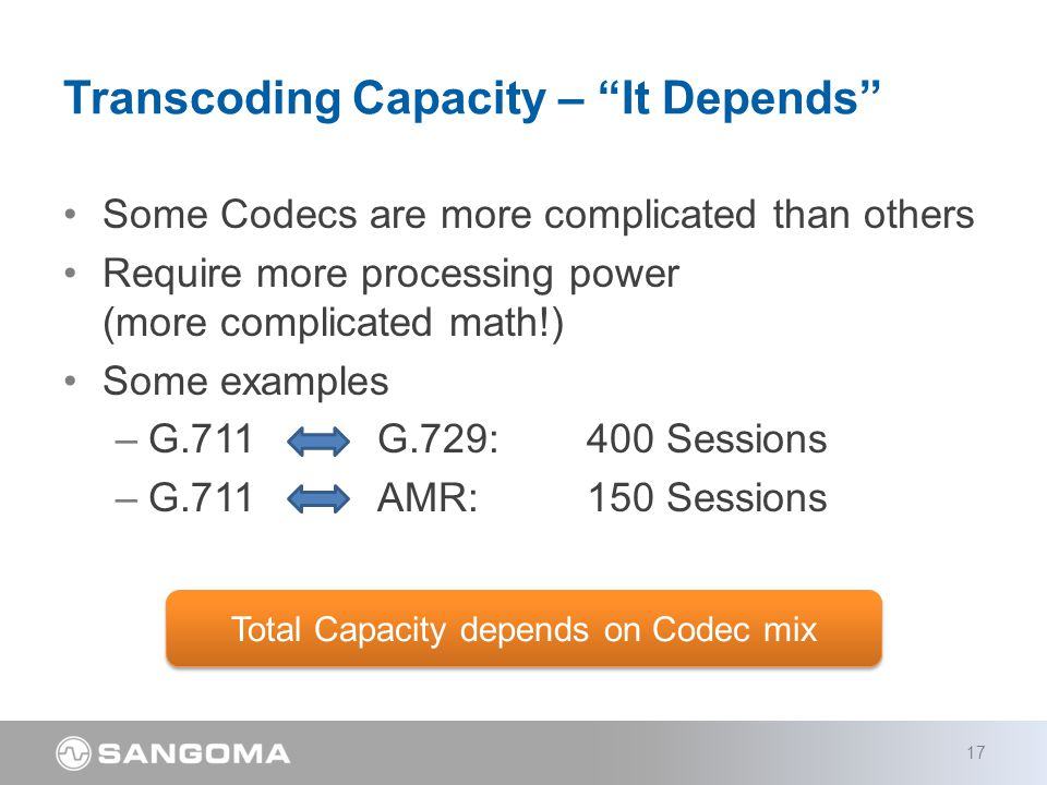 Some Codecs are more complicated than others Require more processing power (more complicated math!) Some examples –G.711 G.729:400 Sessions –G.711AMR:150 Sessions Transcoding Capacity – It Depends 17 Total Capacity depends on Codec mix