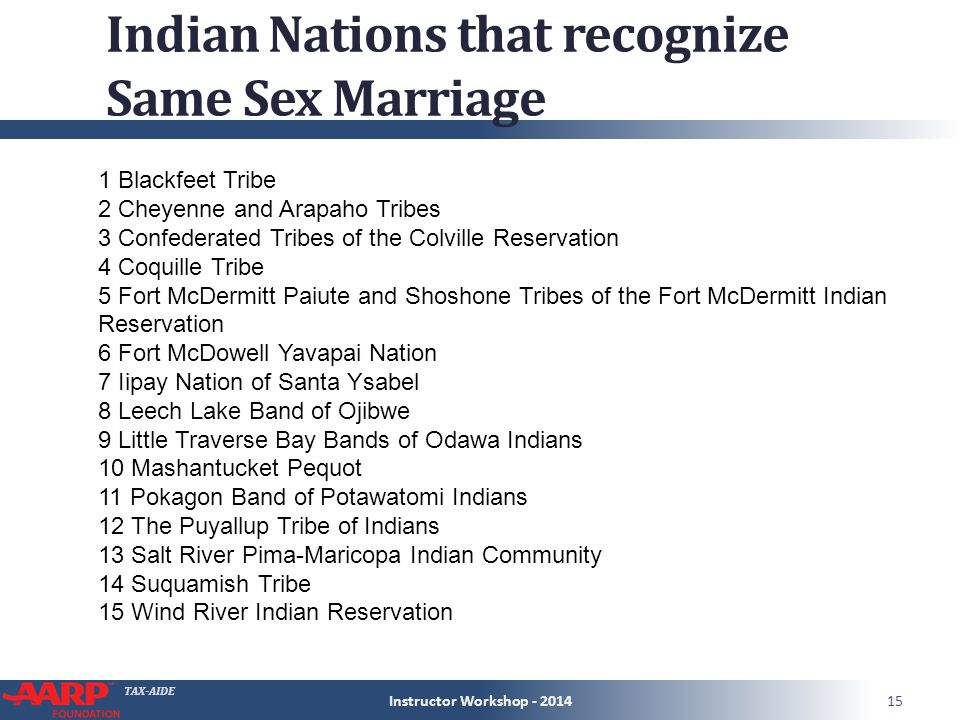 TAX-AIDE Indian Nations that recognize Same Sex Marriage Instructor Workshop - 201415 1 Blackfeet Tribe 2 Cheyenne and Arapaho Tribes 3 Confederated Tribes of the Colville Reservation 4 Coquille Tribe 5 Fort McDermitt Paiute and Shoshone Tribes of the Fort McDermitt Indian Reservation 6 Fort McDowell Yavapai Nation 7 Iipay Nation of Santa Ysabel 8 Leech Lake Band of Ojibwe 9 Little Traverse Bay Bands of Odawa Indians 10 Mashantucket Pequot 11 Pokagon Band of Potawatomi Indians 12 The Puyallup Tribe of Indians 13 Salt River Pima-Maricopa Indian Community 14 Suquamish Tribe 15 Wind River Indian Reservation