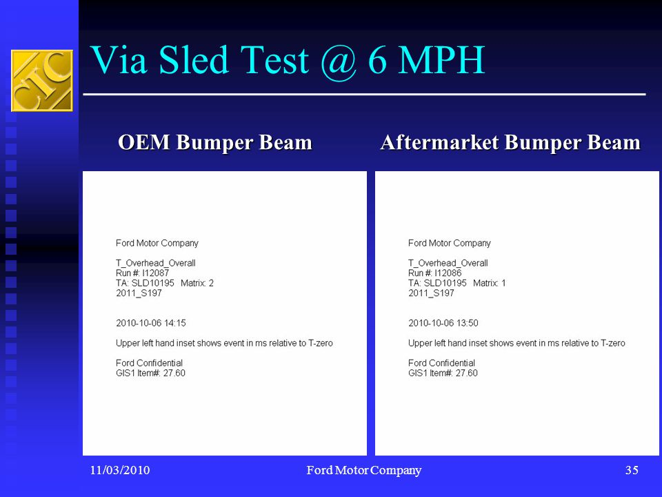 Via Sled Test @ 6 MPH OEM Bumper Beam Aftermarket Bumper Beam 11/03/2010Ford Motor Company35