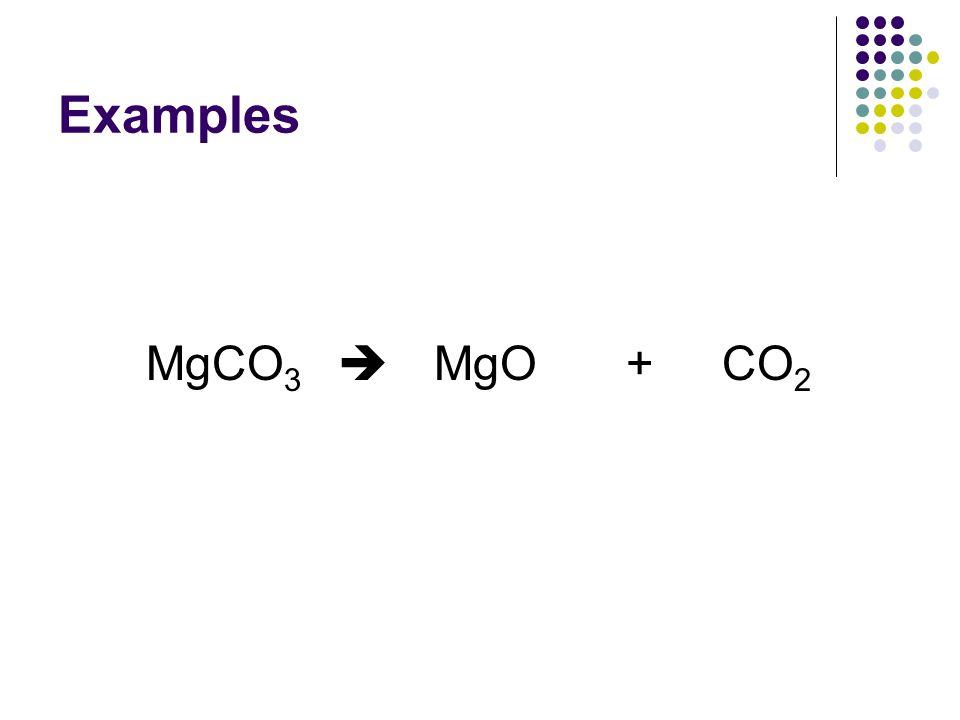 Examples MgCO 3  MgO +CO 2