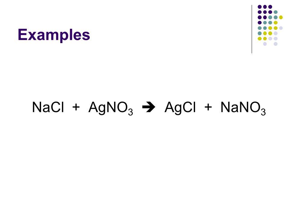 Examples NaCl + AgNO 3  AgCl + NaNO 3