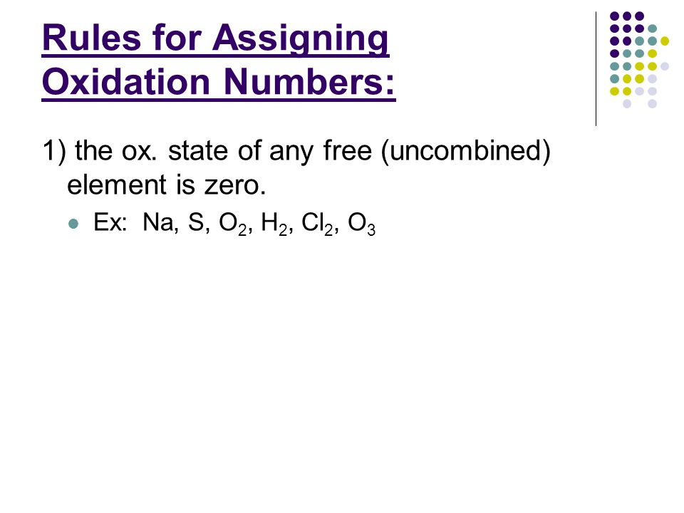 Rules for Assigning Oxidation Numbers: 2) The ox.