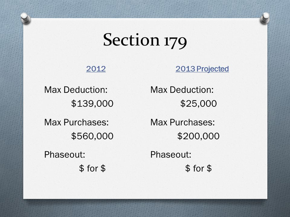 Section 179 2012 2013 Projected Max Deduction: $139,000 Max Purchases: $560,000 Phaseout: $ for $ Max Deduction: $25,000 Max Purchases: $200,000 Phaseout: $ for $