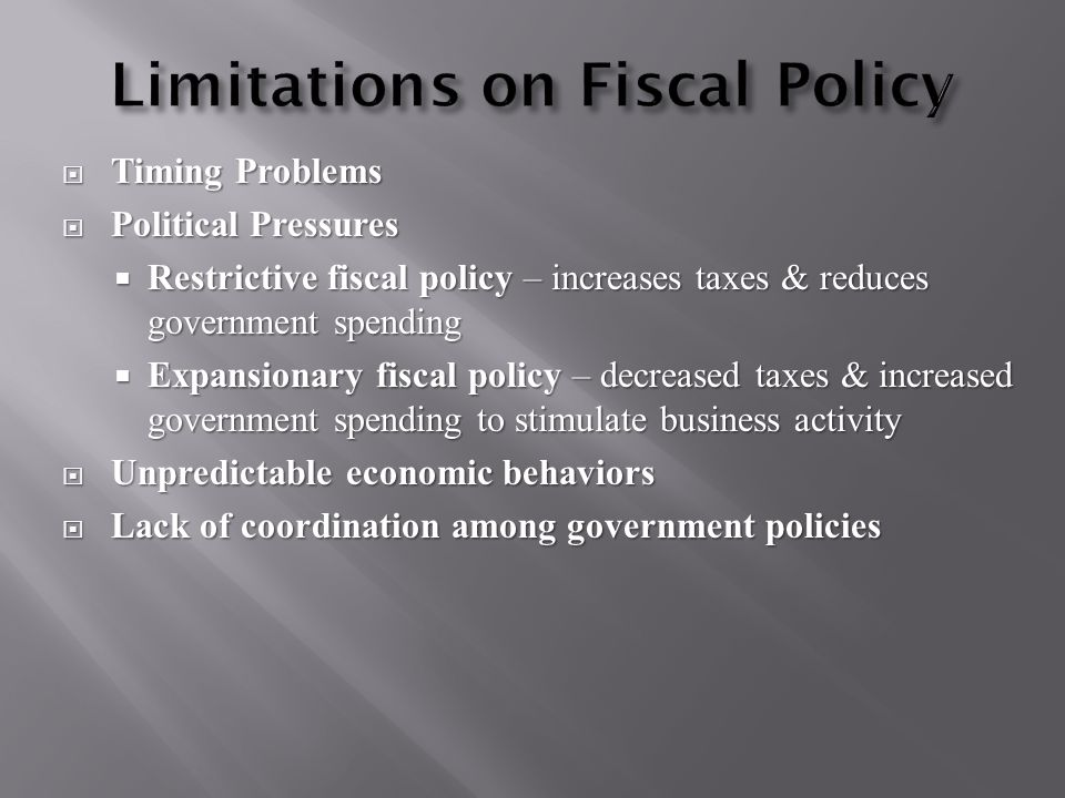  Timing Problems  Political Pressures  Restrictive fiscal policy – increases taxes & reduces government spending  Expansionary fiscal policy – decreased taxes & increased government spending to stimulate business activity  Unpredictable economic behaviors  Lack of coordination among government policies