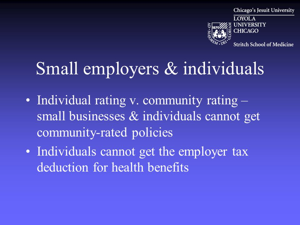 Small employers & individuals Individual rating v.