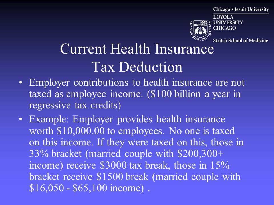 Current Health Insurance Tax Deduction Employer contributions to health insurance are not taxed as employee income.