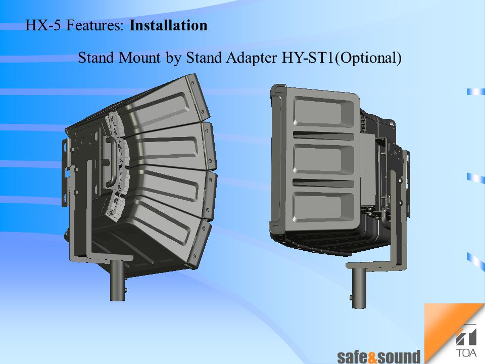 HX-5 Features: Installation Wall/Ceiling Mount by Brackets HY-WM2(Optional) You can get the Minimum - Reflection effect.