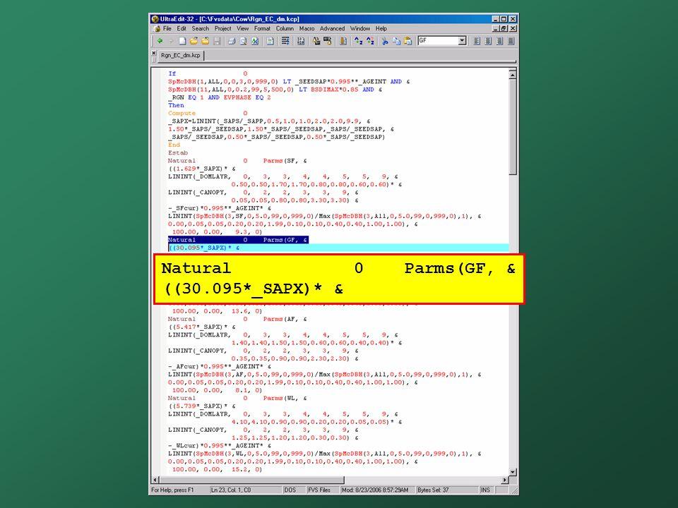 Natural 0 Parms(GF, & ((30.095*_SAPX)* &