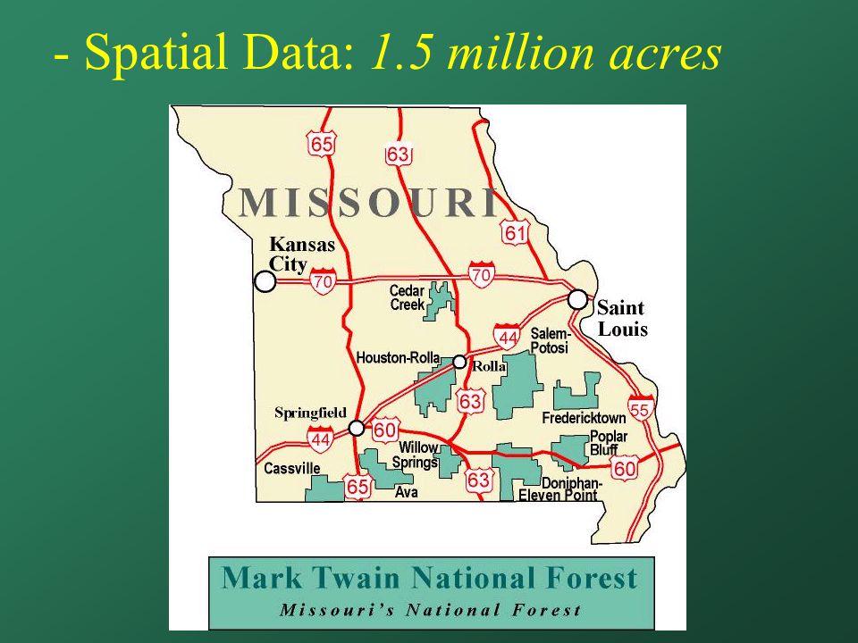- Spatial Data: 1.5 million acres
