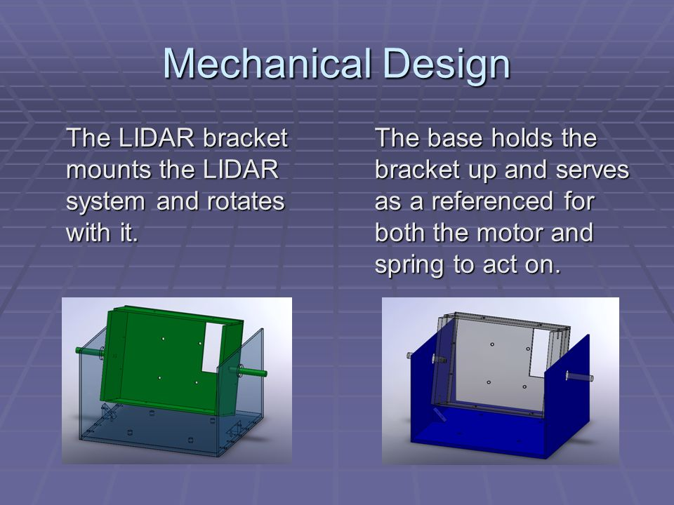 Mechanical Design The LIDAR bracket mounts the LIDAR system and rotates with it.