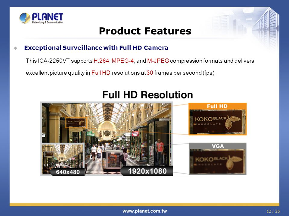 Product Features  Exceptional Surveillance with Full HD Camera This ICA-2250VT supports H.264, MPEG-4, and M-JPEG compression formats and delivers ex