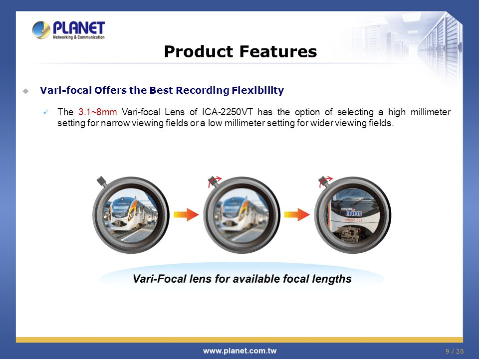 Product Features  Vari-focal Offers the Best Recording Flexibility The 3.1~8mm Vari-focal Lens of ICA-2250VT has the option of selecting a high milli