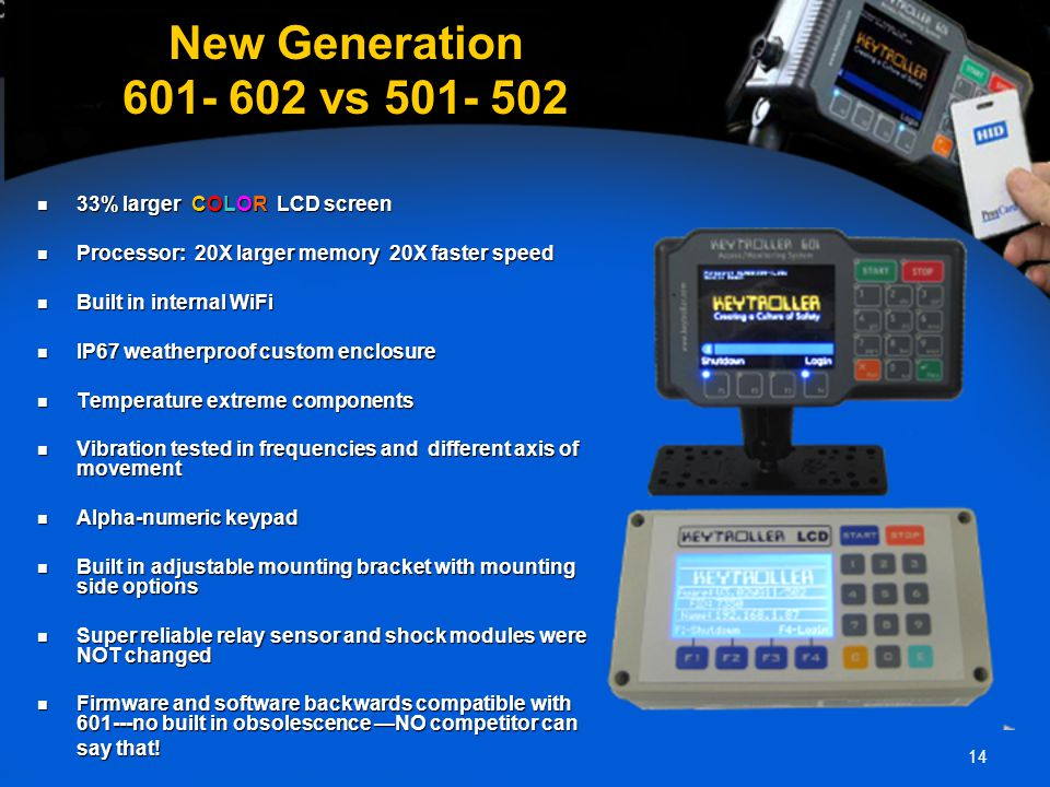 14 New Generation 601- 602 vs 501- 502 33% larger COLOR LCD screen 33% larger COLOR LCD screen Processor: 20X larger memory 20X faster speed Processor