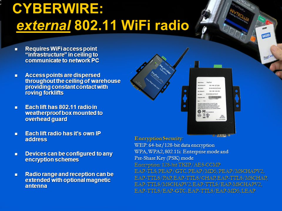 "CYBERWIRE: external 802.11 WiFi radio Requires WiFi access point ""infrastructure"" in ceiling to communicate to network PC Requires WiFi access point """