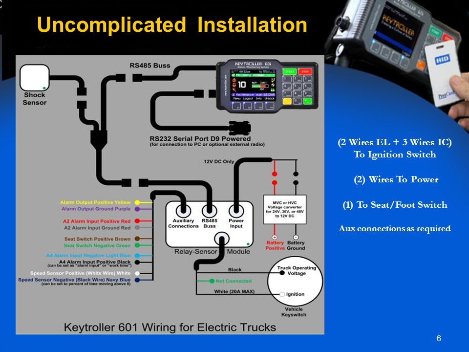 6 Uncomplicated Installation (2 Wires EL + 3 Wires IC) To Ignition Switch (2) Wires To Power (1) To Seat/Foot Switch Aux connections as required