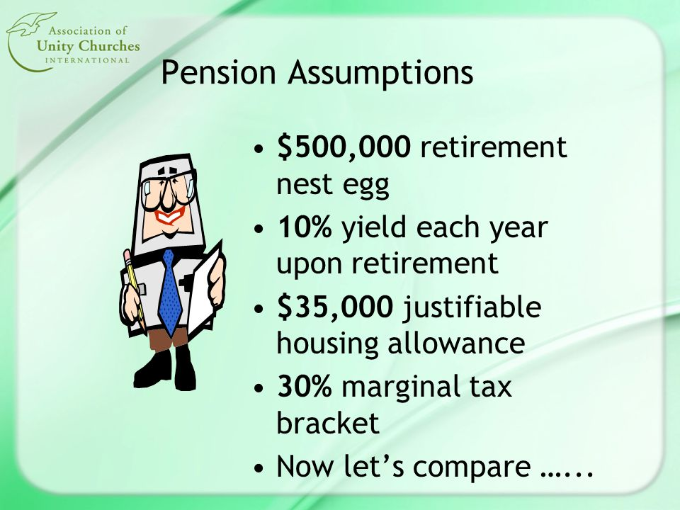 Pension Assumptions $500,000 retirement nest egg 10% yield each year upon retirement $35,000 justifiable housing allowance 30% marginal tax bracket Now let's compare …...