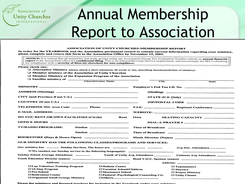 Annual Membership Report to Association