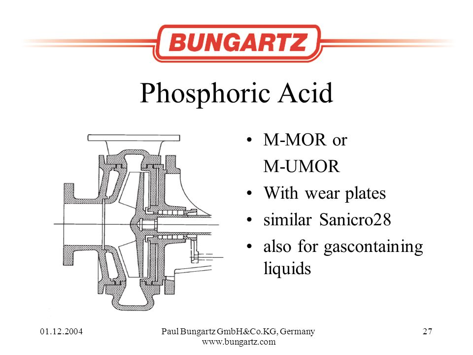 01.12.2004Paul Bungartz GmbH&Co.KG, Germany www.bungartz.com 27 Phosphoric Acid M-MOR or M-UMOR With wear plates similar Sanicro28 also for gascontaining liquids