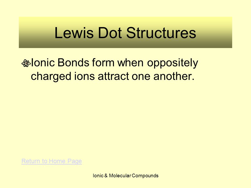 Ionic & Molecular Compounds Lewis Dot Structures Ionic Bonds form when oppositely charged ions attract one another. Return to Home Page