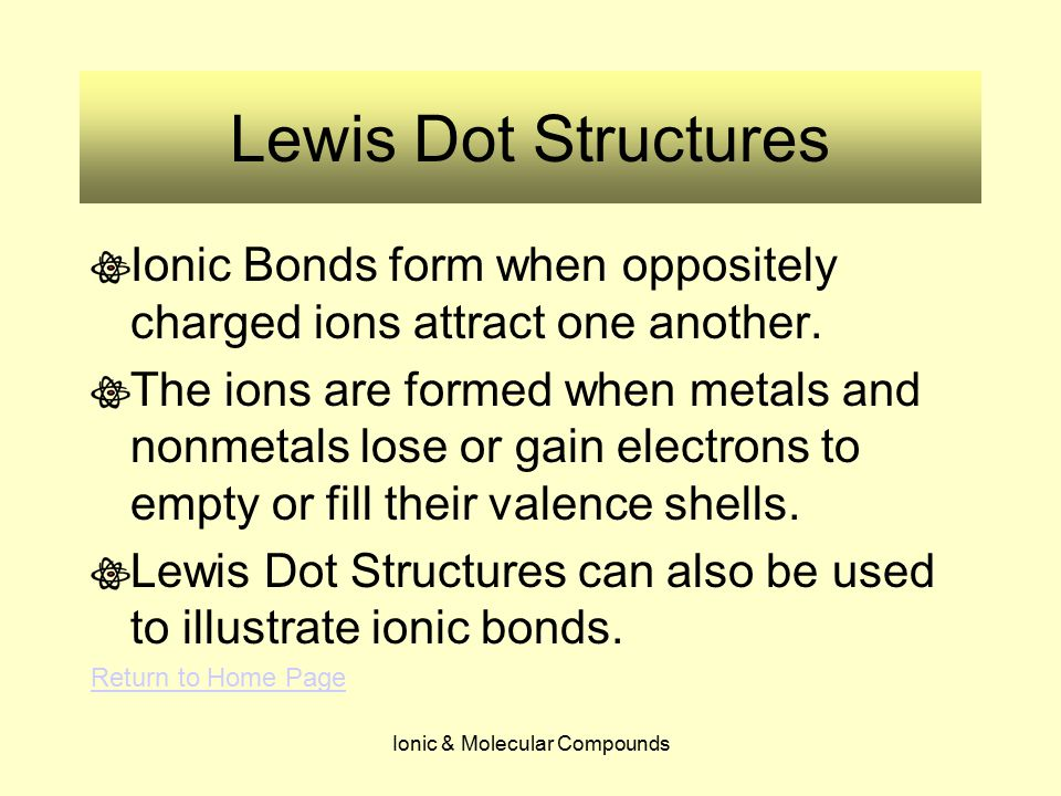 Ionic & Molecular Compounds Lewis Dot Structures Ionic Bonds form when oppositely charged ions attract one another. The ions are formed when metals an