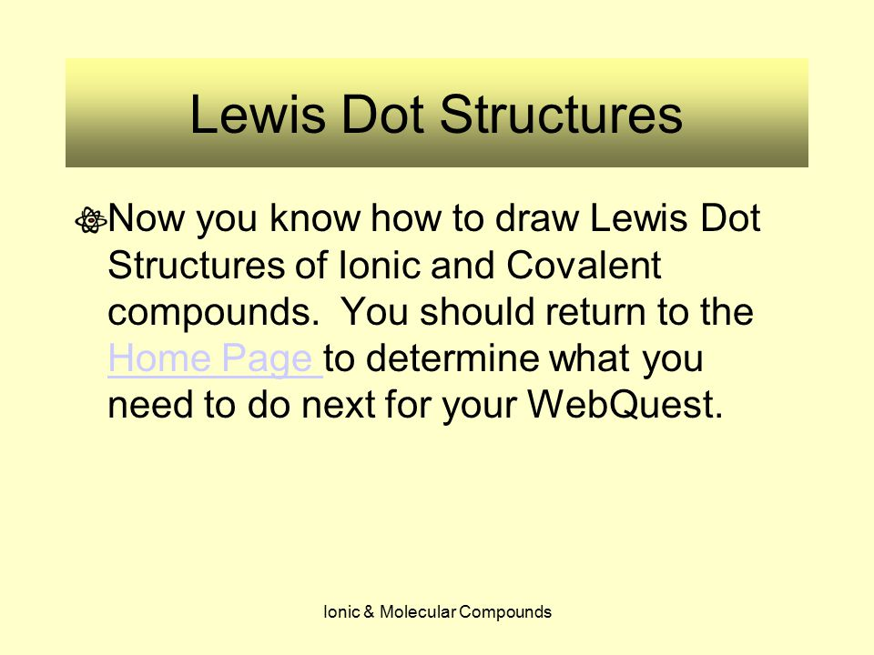 Ionic & Molecular Compounds Lewis Dot Structures Now you know how to draw Lewis Dot Structures of Ionic and Covalent compounds. You should return to t