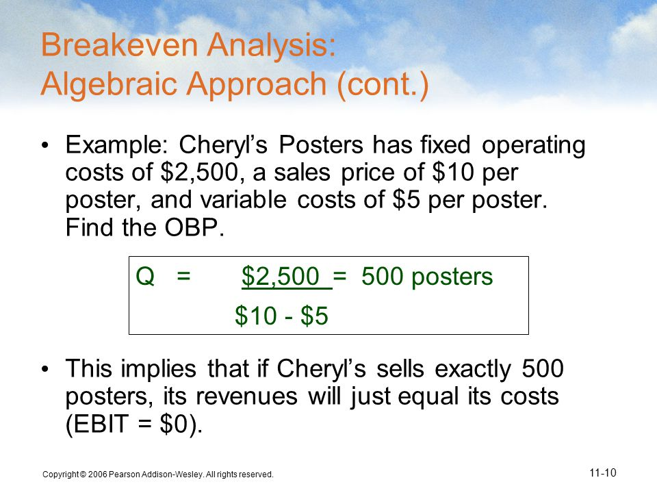 Copyright © 2006 Pearson Addison-Wesley. All rights reserved. 11-10 Q= $2,500= 500 posters $10 - $5 Breakeven Analysis: Algebraic Approach (cont.) Exa