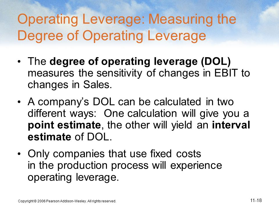 Copyright © 2006 Pearson Addison-Wesley. All rights reserved. 11-18 Operating Leverage: Measuring the Degree of Operating Leverage The degree of opera