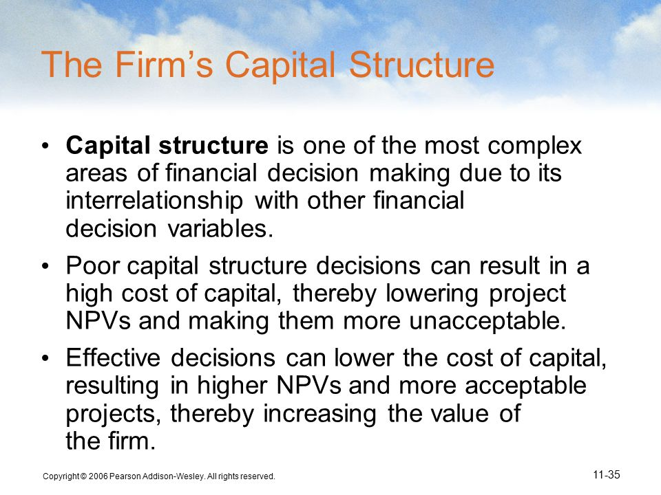 Copyright © 2006 Pearson Addison-Wesley. All rights reserved. 11-35 The Firm's Capital Structure Capital structure is one of the most complex areas of