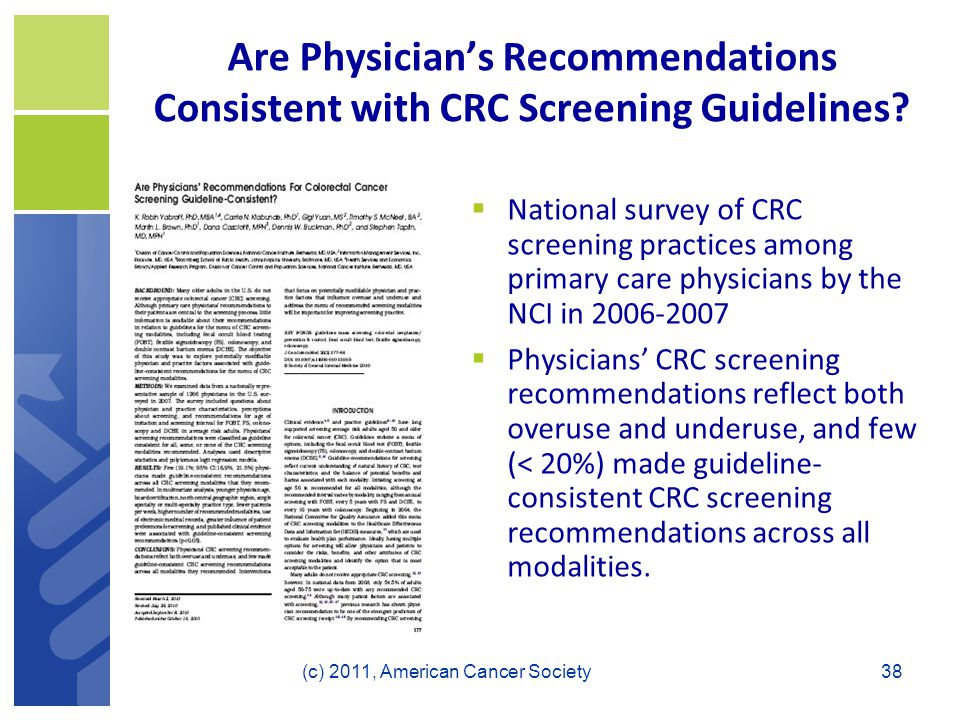 Are Physician's Recommendations Consistent with CRC Screening Guidelines.
