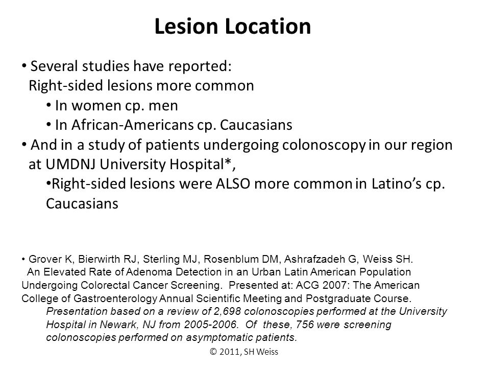 Lesion Location Several studies have reported: Right-sided lesions more common In women cp.