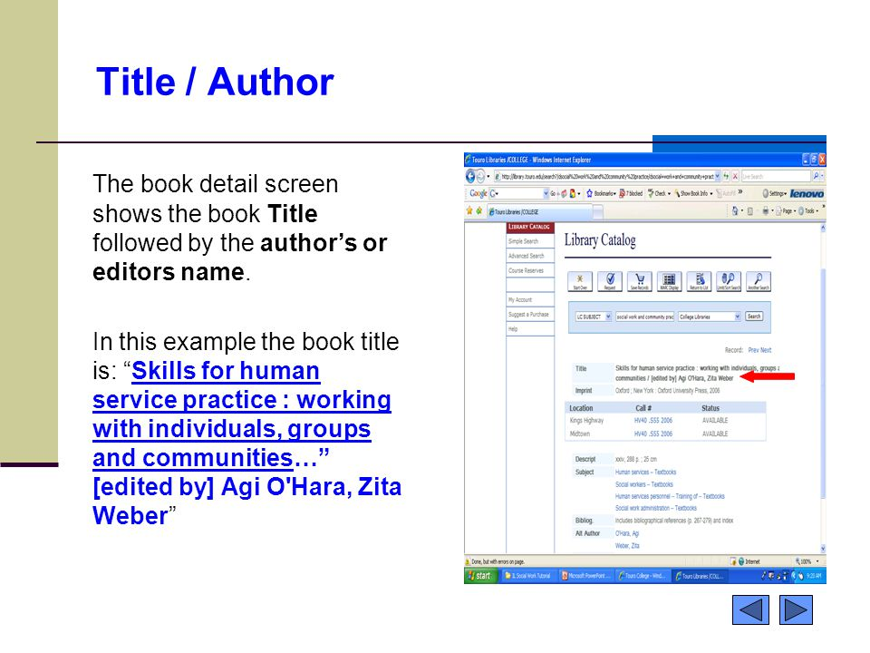 Title / Author The book detail screen shows the book Title followed by the author's or editors name.
