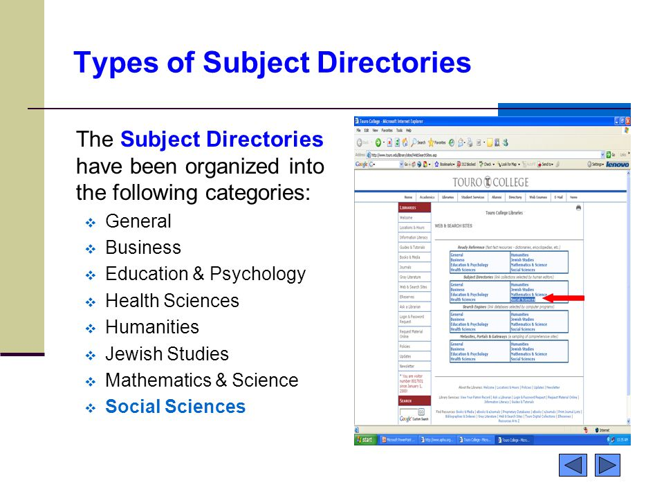 Types of Subject Directories The Subject Directories have been organized into the following categories:  General  Business  Education & Psychology  Health Sciences  Humanities  Jewish Studies  Mathematics & Science  Social Sciences