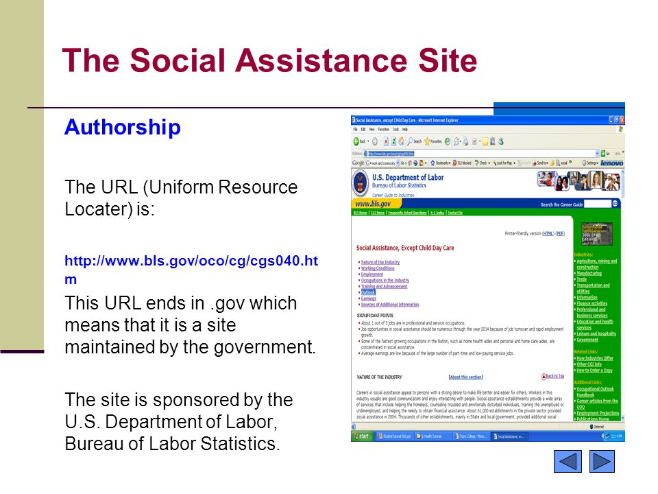 The Social Assistance Site Authorship The URL (Uniform Resource Locater) is: http://www.bls.gov/oco/cg/cgs040.ht m This URL ends in.gov which means th