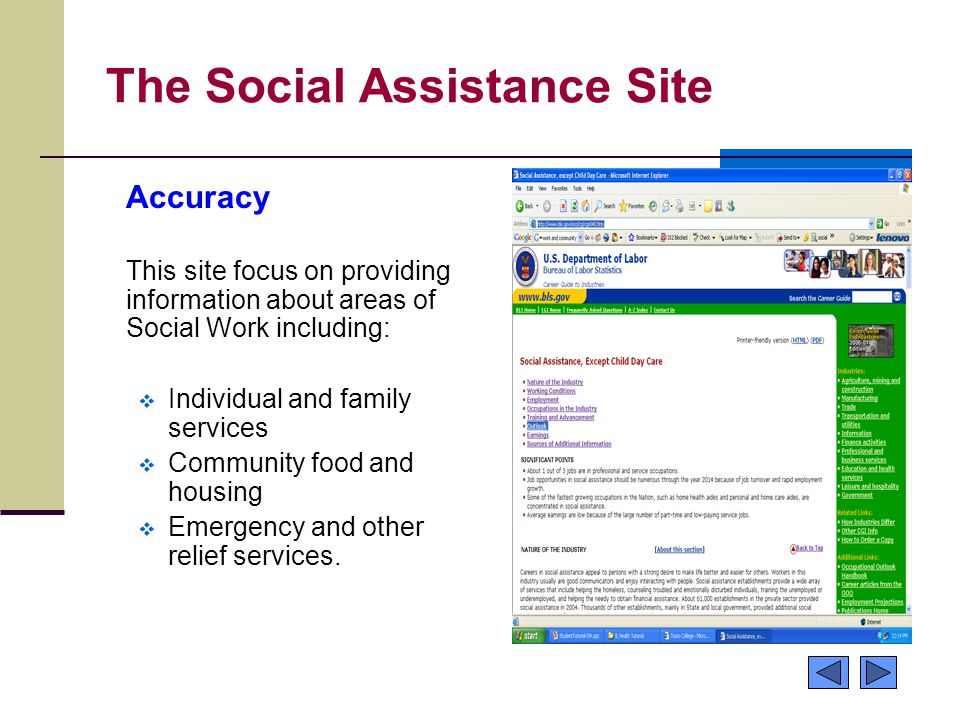 The Social Assistance Site Accuracy This site focus on providing information about areas of Social Work including:  Individual and family services 