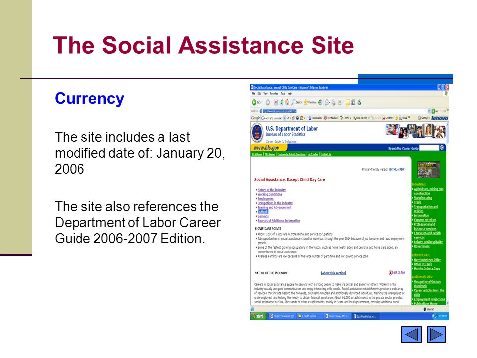 The Social Assistance Site Currency The site includes a last modified date of: January 20, 2006 The site also references the Department of Labor Caree