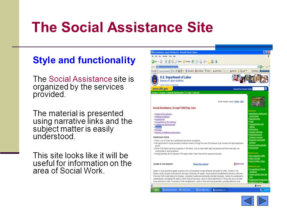 The Social Assistance Site Style and functionality The Social Assistance site is organized by the services provided.