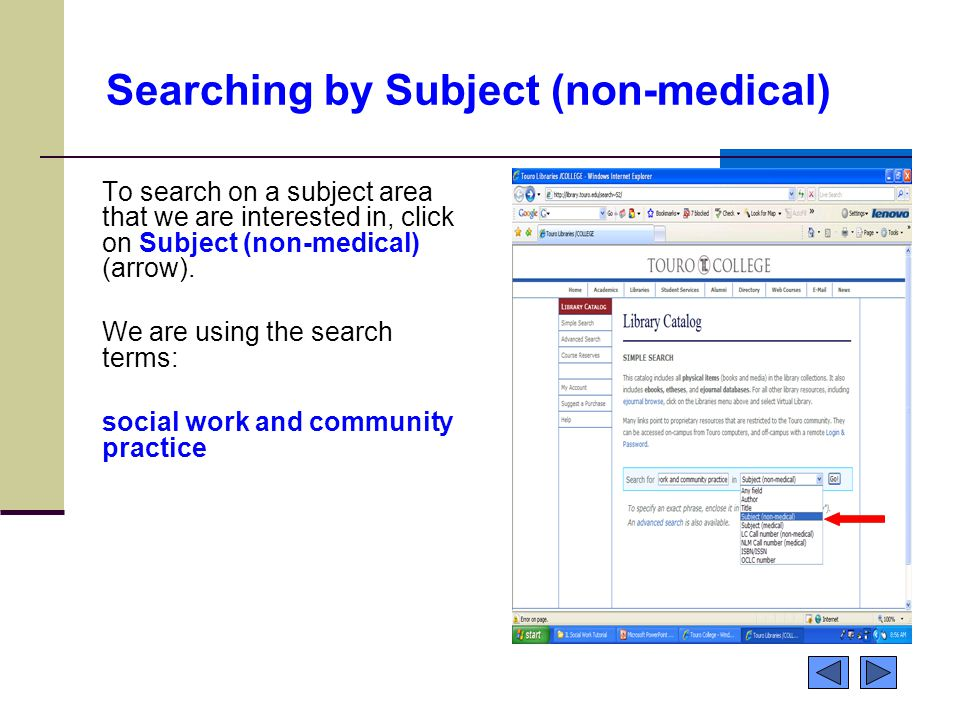 Searching by Subject (non-medical) To search on a subject area that we are interested in, click on Subject (non-medical) (arrow).