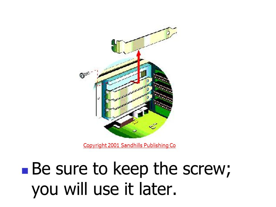 Be sure to keep the screw; you will use it later. Copyright 2001 Sandhills Publishing Co