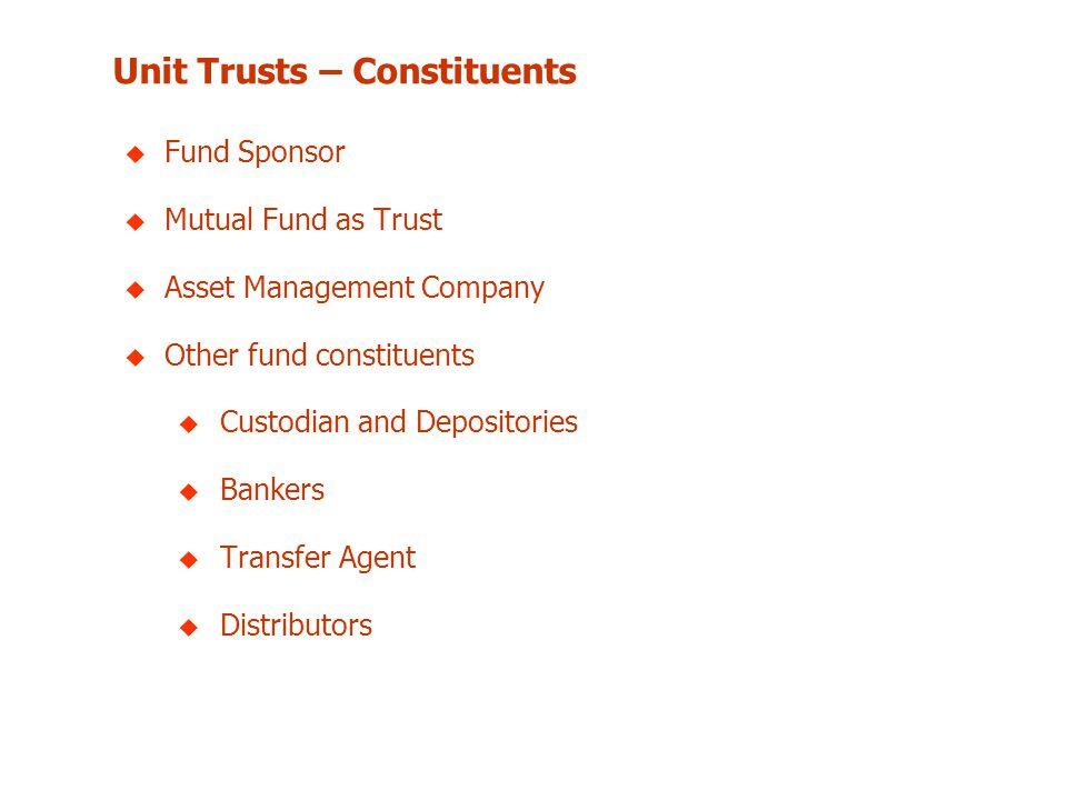 Unit Trusts – Constituents u Fund Sponsor u Mutual Fund as Trust u Asset Management Company u Other fund constituents u Custodian and Depositories u B