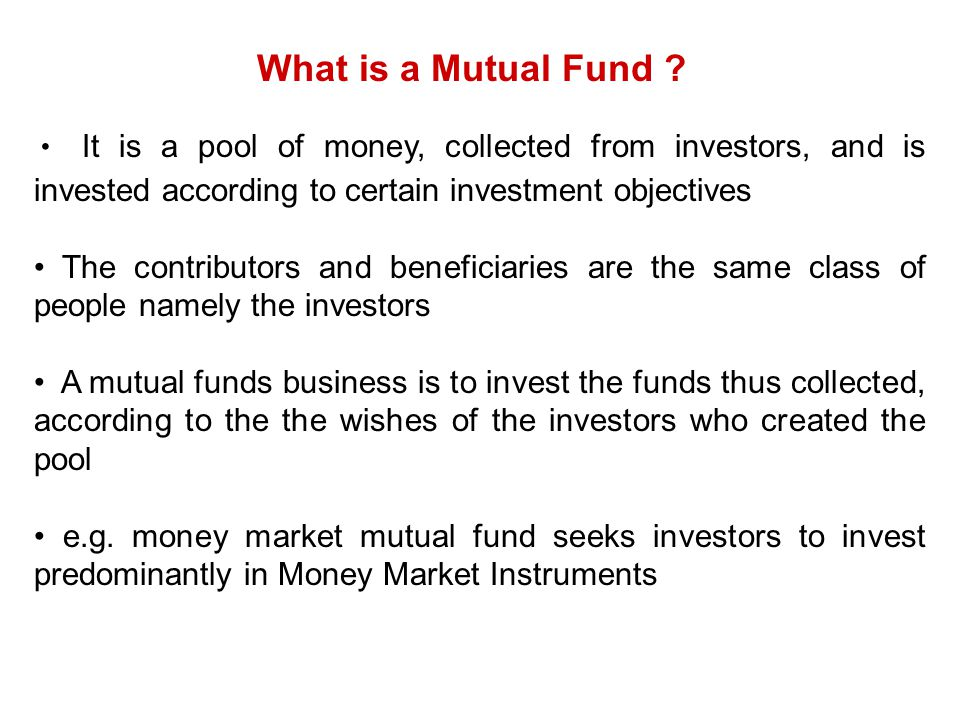 Important characteristics of a Mutual Fund.