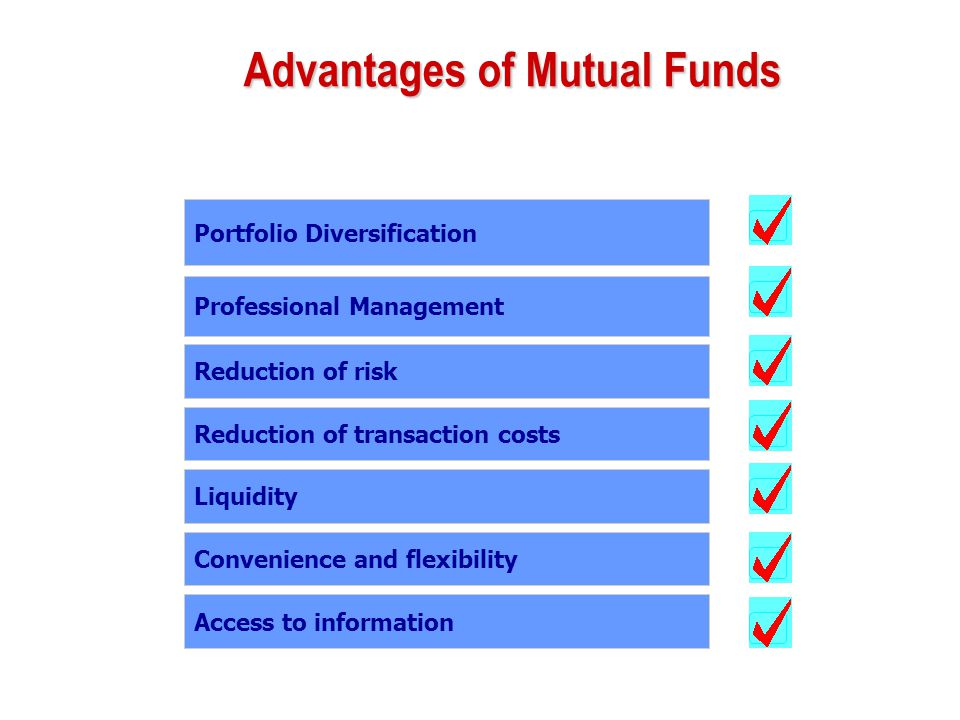 Advantages of Mutual Funds Portfolio Diversification Professional Management Reduction of risk Reduction of transaction costs Liquidity Convenience an