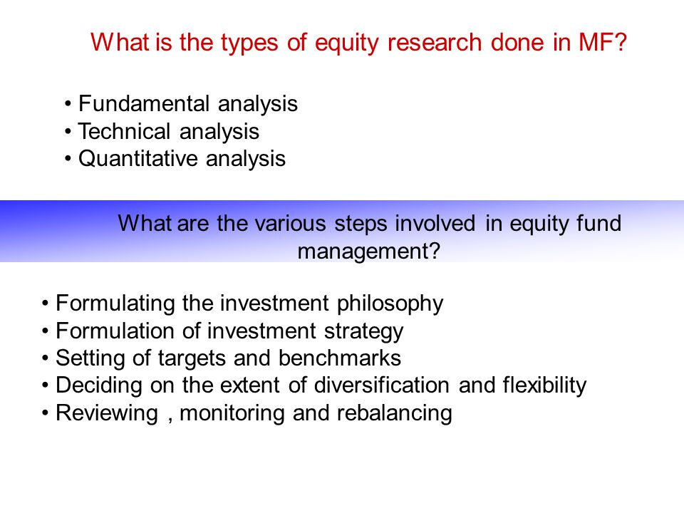What is the types of equity research done in MF? Fundamental analysis Technical analysis Quantitative analysis What are the various steps involved in