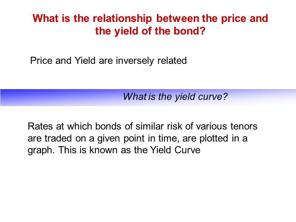 What is the relationship between the price and the yield of the bond? Price and Yield are inversely related What is the yield curve? Rates at which bo