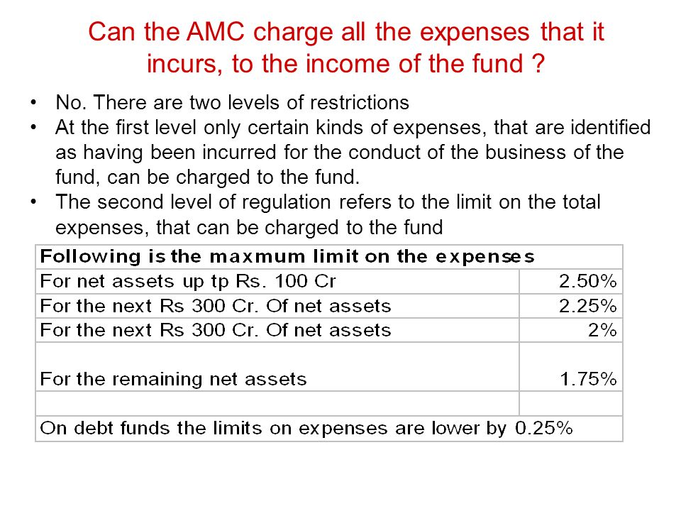 Can the AMC charge all the expenses that it incurs, to the income of the fund ? No. There are two levels of restrictions At the first level only certa