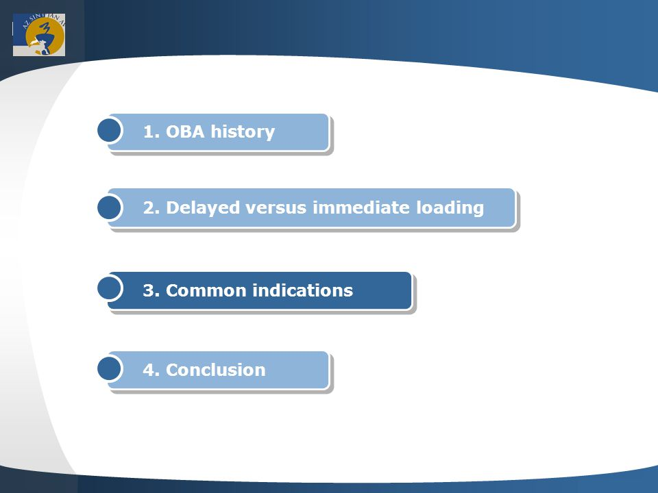 Your site here LOGO 1. OBA history 2. Delayed versus immediate loading 3.