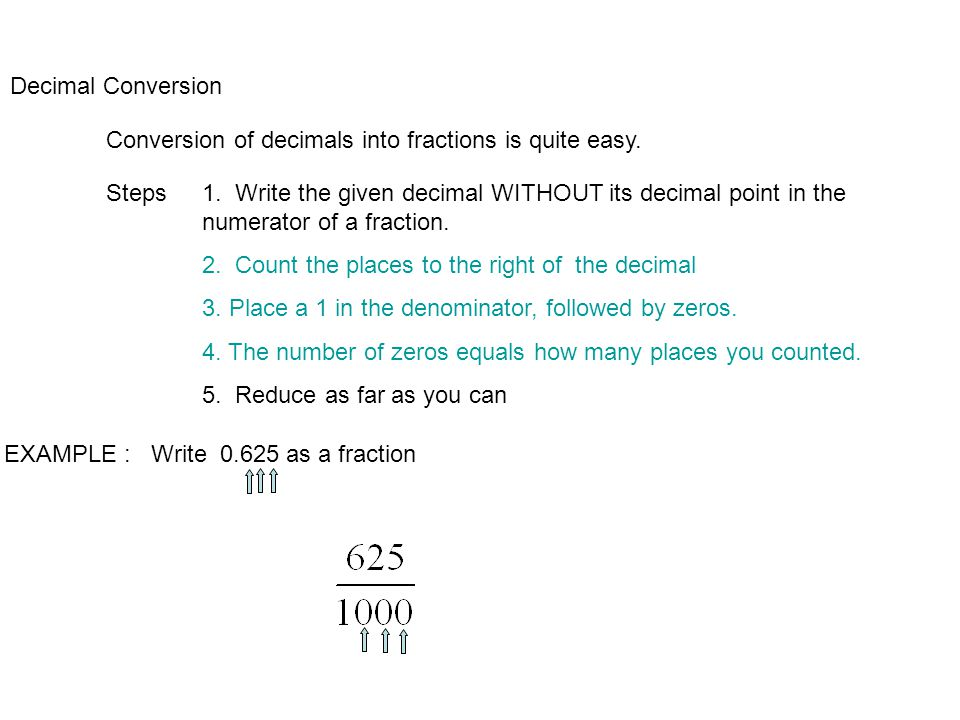 Decimal Conversion Conversion of decimals into fractions is quite easy.