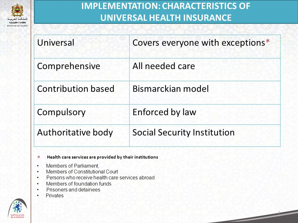 4 UniversalCovers everyone with exceptions* ComprehensiveAll needed care Contribution basedBismarckian model CompulsoryEnforced by law Authoritative bodySocial Security Institution Members of Parliament, Members of Constitutional Court Persons who receive health care services abroad Members of foundation funds Prisoners and detainees Privates * IMPLEMENTATION: CHARACTERISTICS OF UNIVERSAL HEALTH INSURANCE Health care services are provided by their institutions